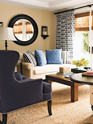Love The Navy And Beige In This Room. Woven Woods Under The Drapes On The ·  Mirror Decor Living RoomBlue ...