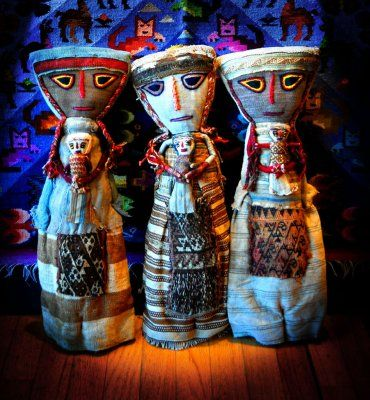 Chancay Dolls § Peruvian Folk Art § Pre-Columbian Cloth Dolls  are Contemporary dolls made with Pre-Columbian cloth dating to over 2,000 years old § Chancay is a small city in the Lima Region of Peru. The Chancay culture was a Pre-Columbian archeological culture, later part of the Inca Empire.