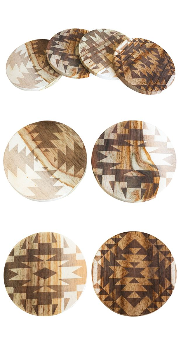 Protect your tabletops with festival-cool coasters. This laser-engraved set features geometric designs etched onto bleached plantation rosewood. This unique collection comes conveniently packaged in an...  Find the Mission Coasters -- Set of 4, as seen in the The Treehouse at Camp Wandawega Collection at http://dotandbo.com/collections/the-treehouse-at-camp-wandawega?utm_source=pinterest&utm_medium=organic&db_sku=119389