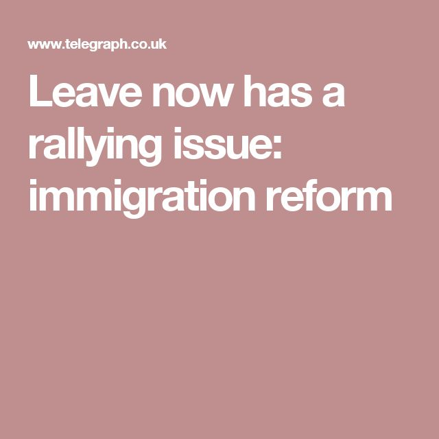 Leave now has a rallying issue: immigration reform