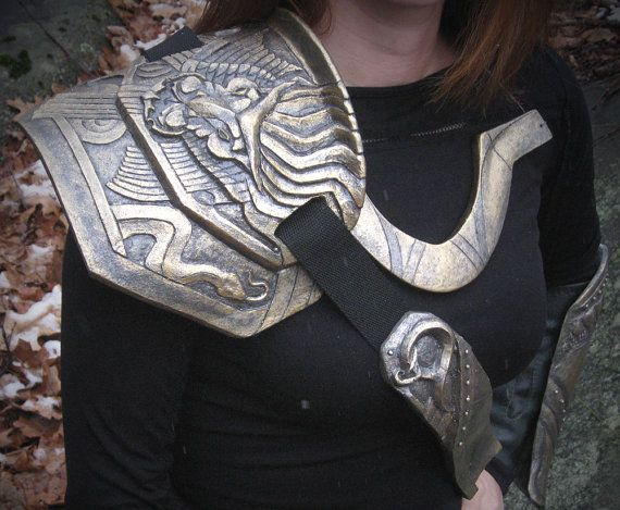 Loki Armor Set - Complete 5 Piece Battle worn Armour set - Includes Faux Leather Bracers - Cosplay Costume - Tarnished Golden - Discount. $395.00, via Etsy.