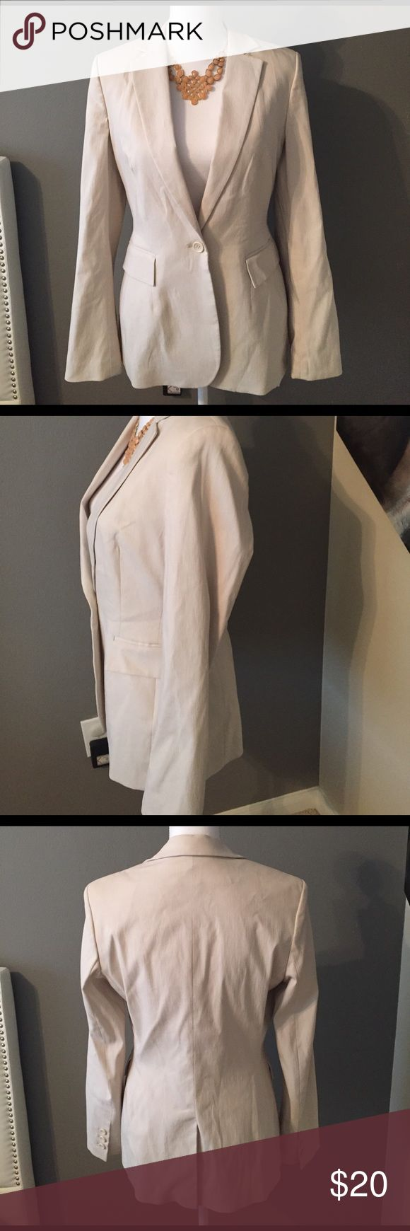 Express Blazer Cream color blazer from Express. It is long and will cover your butt. There may be some smudged that can be easily removed by dry cleaners. Great condition. Made it rayon and nylon. Express Jackets & Coats Blazers