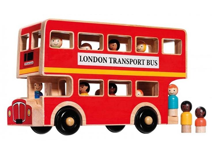 Wooden London Bus w/Passengers