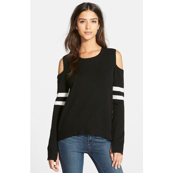 Pam & Gela Cold Shoulder Logo Sweater ($275) ❤ liked on Polyvore featuring tops, sweaters, black cream, cream sweater, black cold shoulder top, cutout shoulder sweater, black sweater и cream top