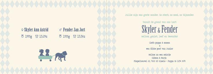 Geboortekaartje tweeling - Skyler en Fender - binnenkant - Pimpelpluis - https://www.facebook.com/pages/Pimpelpluis/188675421305550?ref=hl (# vintage - retro - Engelse bulldog - bolderkar - jongen - meisje - hond  - tweeling - silhouet - origineel)