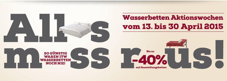 Wir brauchen Platz für die neuen Kollektionen und räumen unsere Lager: Wasserbetten, Matratzen, Markenbettwäsche, Spannbetttücher, Zudecken, Kissen und viele weitere Angebote warten auf Sie. Wer jetzt vorbeikommt, findet Qualitäts-Betten zu unschlagbaren Preisen. Aktion gilt in Österreich, alle ITW Händler findet ihr hier: http://www.wasserbetten.at/…/itw-fachha…/in-oesterreich.html