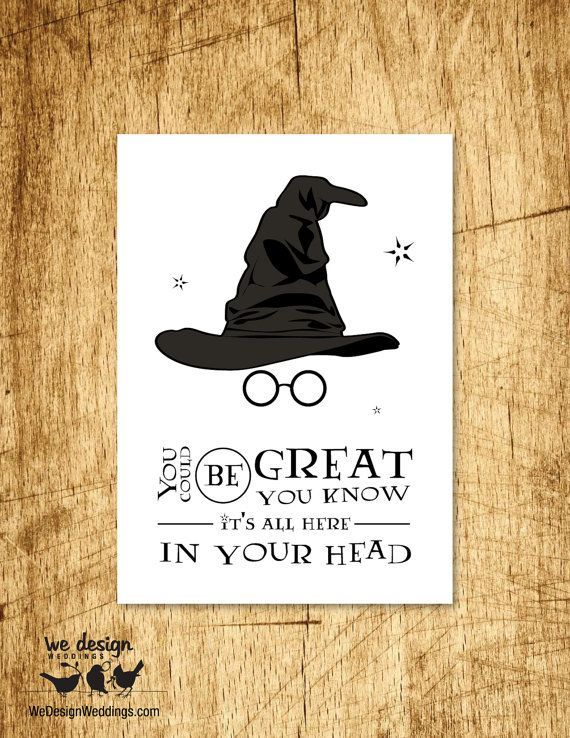 Printable Harry Potter Sorting Hat Birthday Card. DIY Digital Download Features Sorting Hat Glasses and Typography (Top Design)
