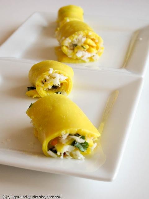 Suralichi wadi (chickpea flour rolls with coconut stuffing)