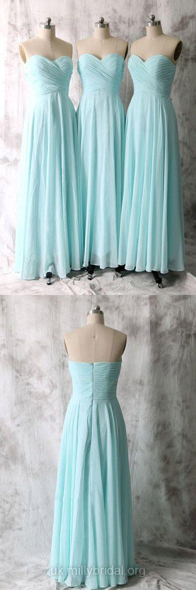 Light Sky Blue Bridesmaid Dresses Long, A-line Bridesmaid Dress Chiffon Ruffles, Sweetheart Bridesmaid Dresses Modest