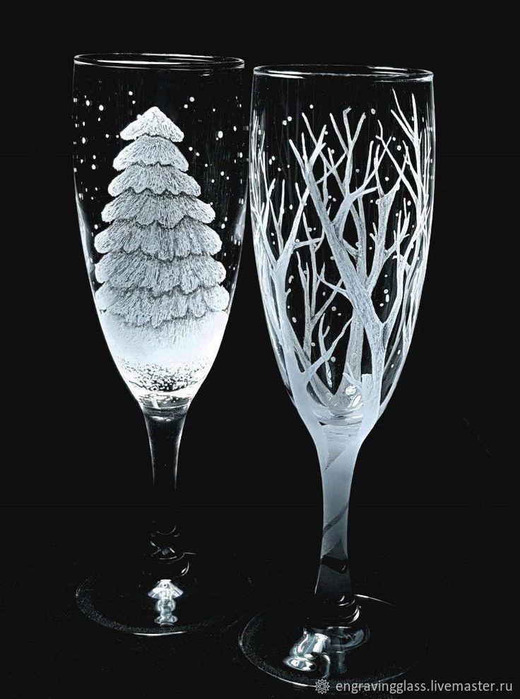Бокалы, стаканы ручной работы. Бокалы гравировка Зимние ...