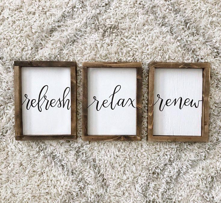 Refresh Relax Renew Set of 3| Farmhouse Bathroom Sign | Bath Decor | Spa Massage Room | Fixer Upper Style | Wood Decor | Rustic Home Decor – fixer upper Bathroom