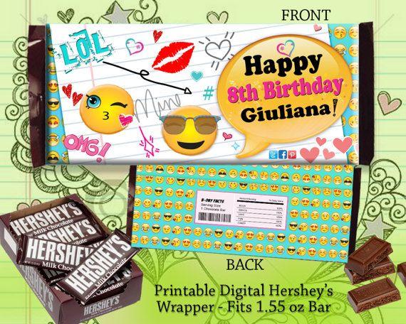 Happy Birthday #Emoji Chocolate Candy Bar Wrapper Favor by DesignTrunkInc