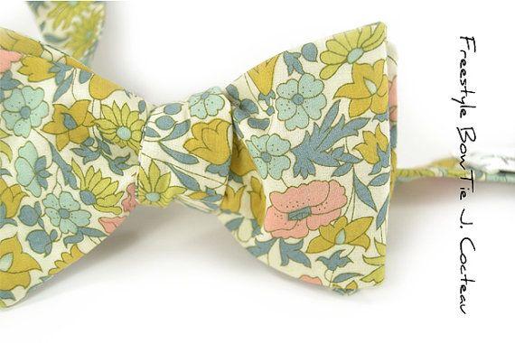 Wedding Mens Bow Tie Jean Cocteau - Blush pink, yellow and Blue seafoam via Etsy