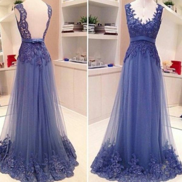 Description:  Silhouette:+A-line Neckline:+Straps Hemline/Train:Floor-length Sleeve+Length:Sleeveless Embellishment:Appliques Back+Details:Backless Fabric:Tulle  Size:+standard+size+or+custom+size,+if+dress+is+custom+made,+we+need+to+size+as+following+ bust______+cm/inch+ waist______c...
