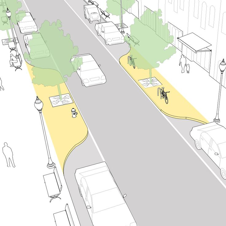 """Curb extensions may be applied at midblock to slow traffic speeds and add public space. When utilized as a traffic calming treatment, mid-block curb extensions are referred to as """"pinchpoints"""" or """"chokers""""."""