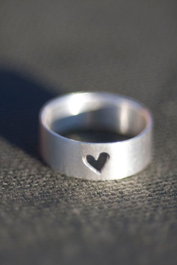 Simple Heart Cutout Ring Sterling Silver by Anilani on Etsy. Thinner band would be perfect