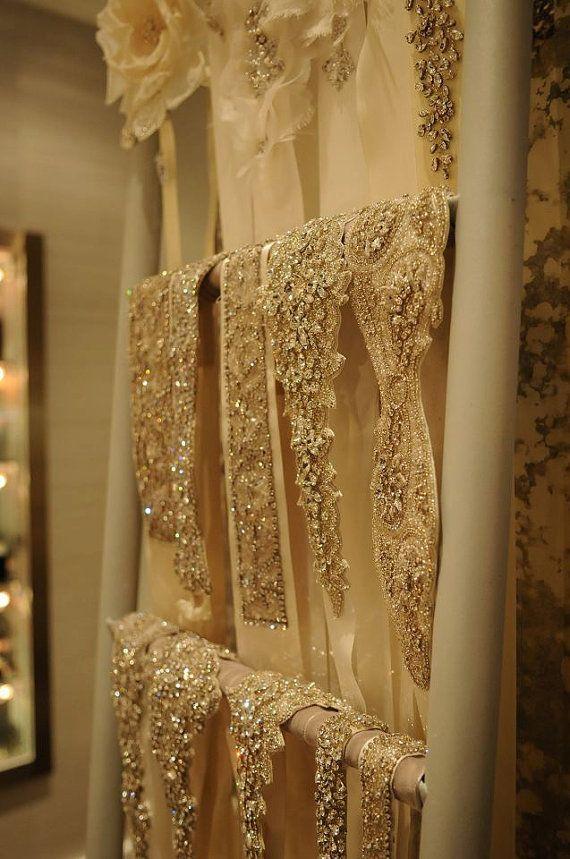 1 YARD Luxury Hand Beaded Bridal Trim For Wedding by allysonjames, $458.00