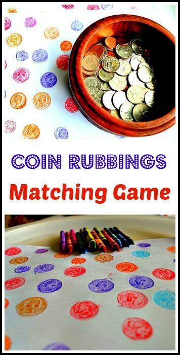 Math and art activity rolled into one for preschoolers: A fun matching game and other coin rubbings ideas.