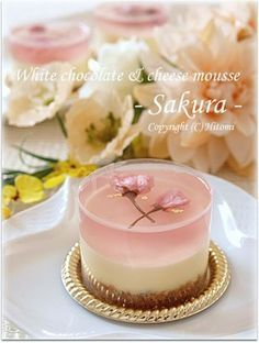 Sakura White Chocolate & Cheese Mousse. Available in English: http://bossacafez.blogspot.com/2012/04/sakura-rare-cheese-dessert.html