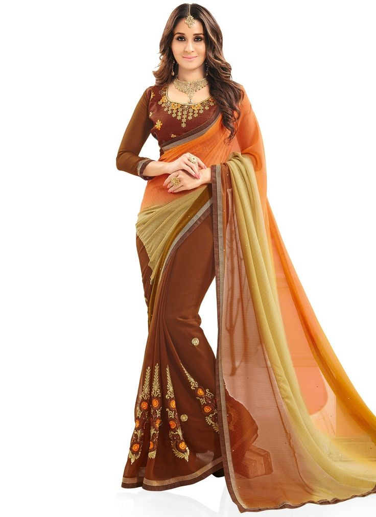 Mesmeric Faux Georgette Patch Border Work Shaded Saree