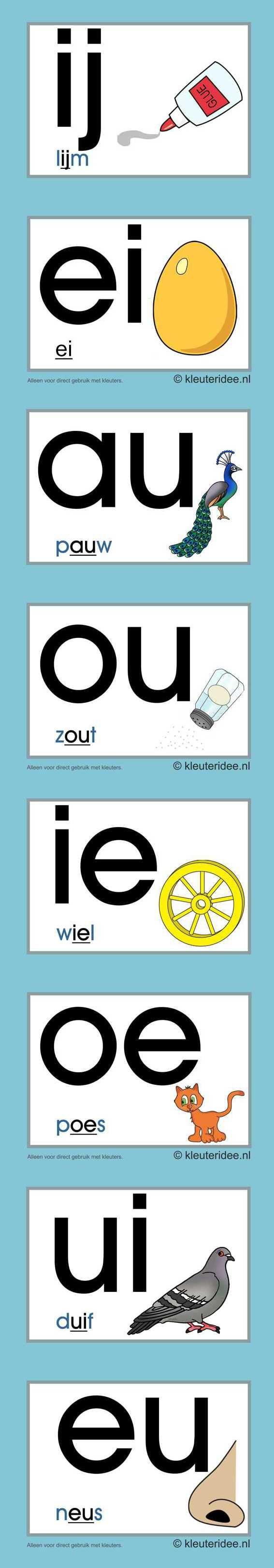Letterkaarten voor kleuters tweeklanken 2, kleuteridee.nl , abc cards for…