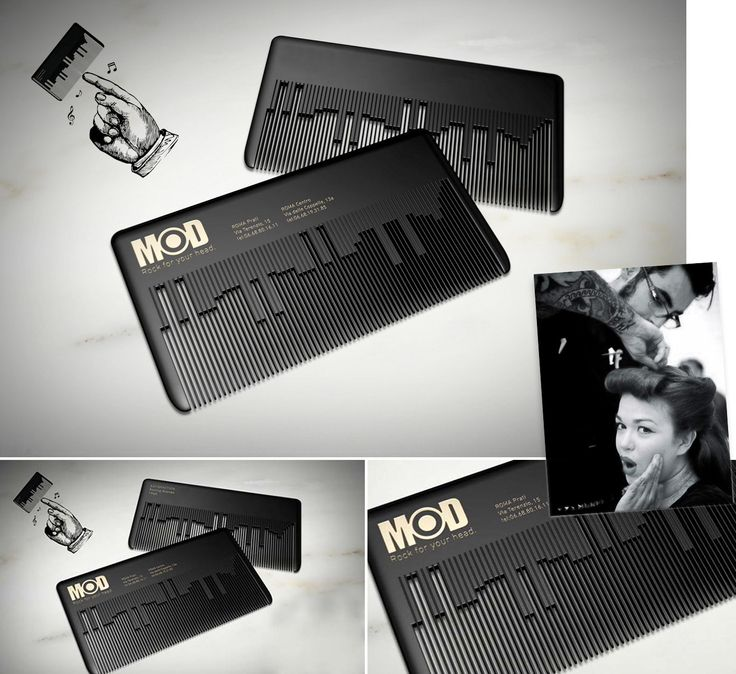 Musical Comb Businesscard. / MODhair Salons. Визитка парикмахерской (01) ••• #Business #Cards
