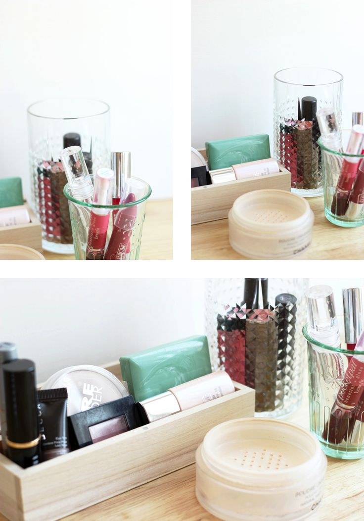 Ideas for storing makeup via Into Mind. Assorted pretty containers.