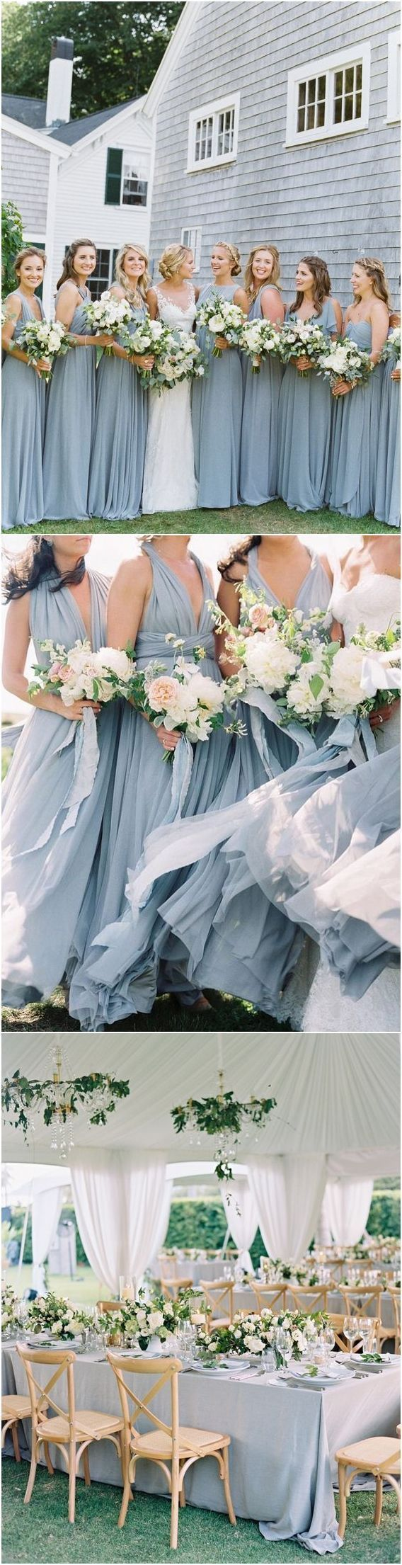 Dusty blue bridesmaid dresses and cream greenery wedding color palette idea / http://www.deerpearlflowers.com/dusty-blue-wedding-color-combos/ #weddingcolors #weddingideas #bluewedding #dustyblue #bridesmaiddresses