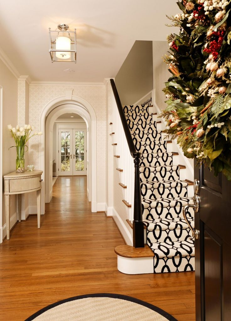 Interior Home Design with Staircase plus Carpet For Stairs: Black And White Stair Runner Also Black Stair Bannister With Carpet For Stairs And Hardwood Flooring For Hall Ideas Plus Ivory Patterned Wallpaper Also White French Door ~ parsegallery.com Decorating Inspiration
