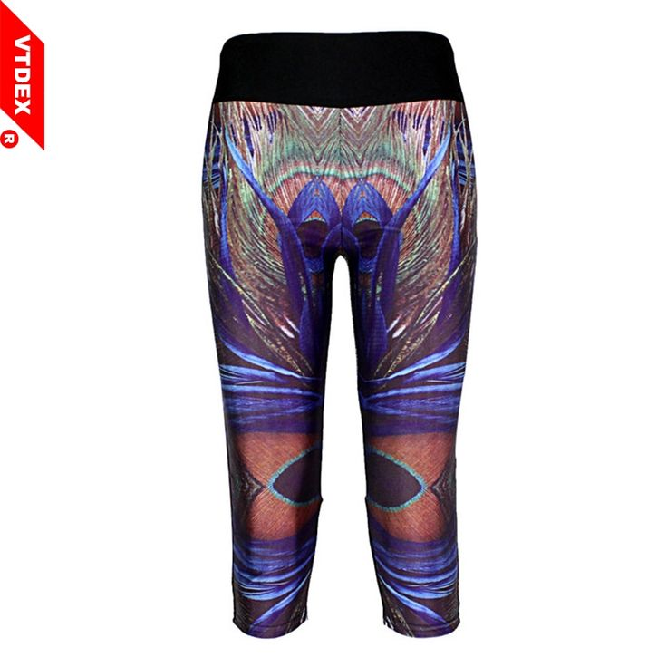 VTDEX Fitness Yoga Pants Capri 2017 New Peacock Feathers Print Women Sports Leggings 3/4 Length GYM Running Tights Breathable