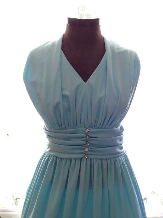 70s blue gown with amazing rhinestone buttons.