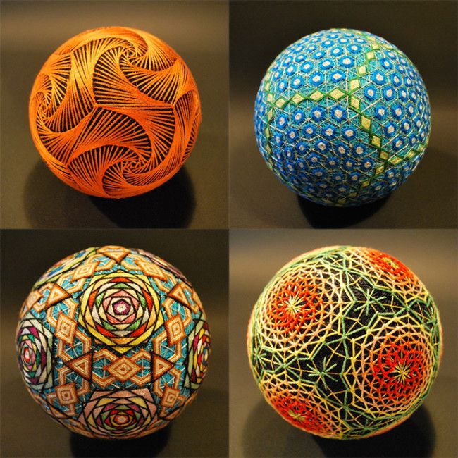 Temari spheres embroidered by a 92-year old grandmother