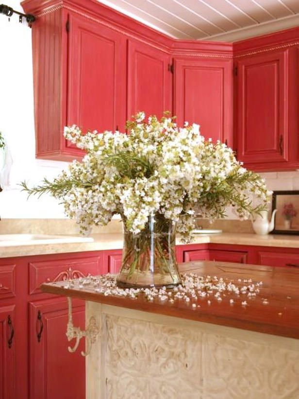 Style-Boosting Kitchen Updates:  Give Cabinets a Cheery Update  Give dated cabinets a sunny new outlook with a fresh coat of paint. Choose a bold color for a kitchen that really cooks. Design by RMS user TwiceRememberedCottage.