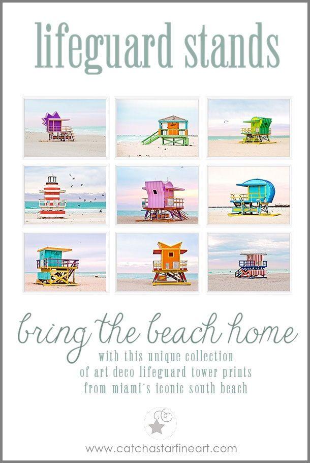 Set Of 9 Prints Miami Beach Hut Lifeguard Tower Print Set Wall Art