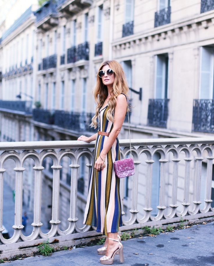 Colorfull striped lurex midi dress+grey top+golden ankle strap heeled sandals+pink velvet chain shoulder bag+brown blet+sunglasses+necklaces+long earrings. Late Summer Dressy Casual Outfit 2017