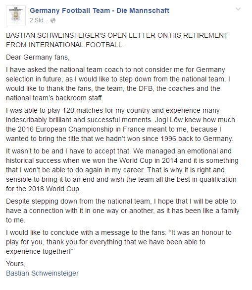 Bastien Schweinsteiger retired from Die Manschaft