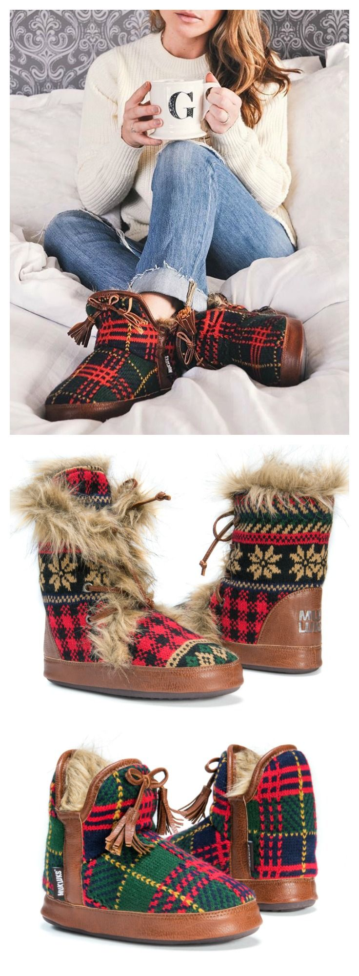 Cozy up in plaid and faux fur this winter with MUK LUKS slippers!
