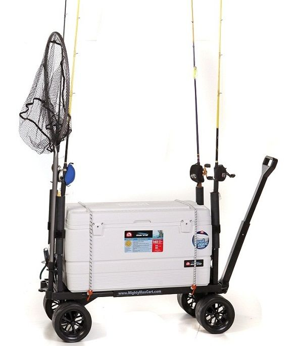 FANTASTIC FISHING CART! -   Flatbed extends to hold huge ice chests and other gear. With optional holders, holds up to 6 poles!  Perfect for wet sand, dirt paths, wood docks and paved piers.