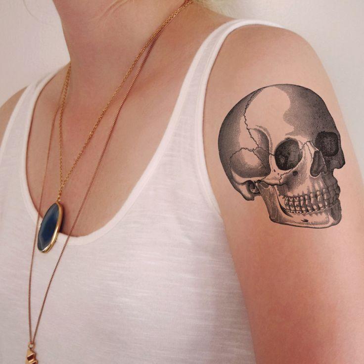 Vintage skull temporary tattoo
