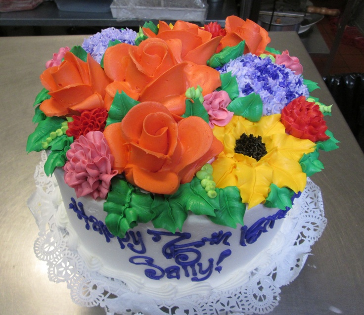 Bursting Spring Bouquet cake #icingonthecakelosgatos