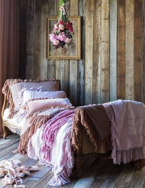 Romantic Bedroom Ideas - I wish my wood walls ran vertical instead of horizontal but oh well.  #shabbychicboho