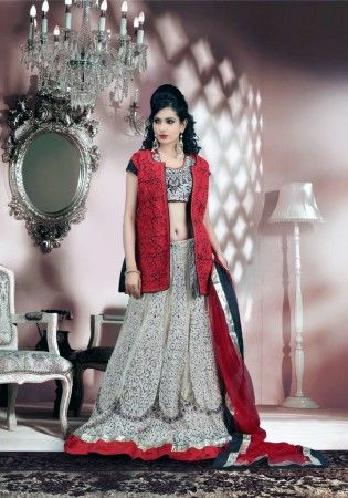 Awesome Black And Butter Cream Net Lehenga