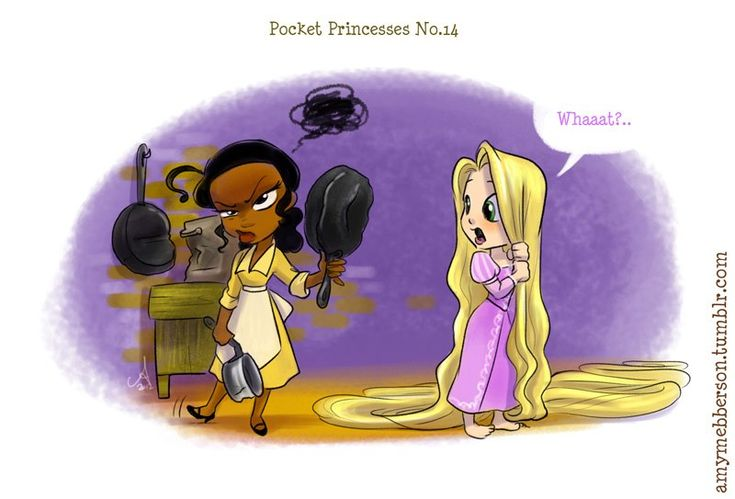 Pocket Princesses by Amy Mebberson  # 14- If Disney princesses lived together: Tiana and Rapunzel