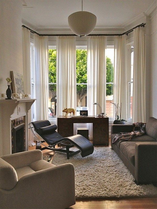 Bay Window Curtain Pole Ideas Modern Living Room Home Office Ideas Curtains Living Living Room Windows Curtains Living Room #window #blind #ideas #for #living #room