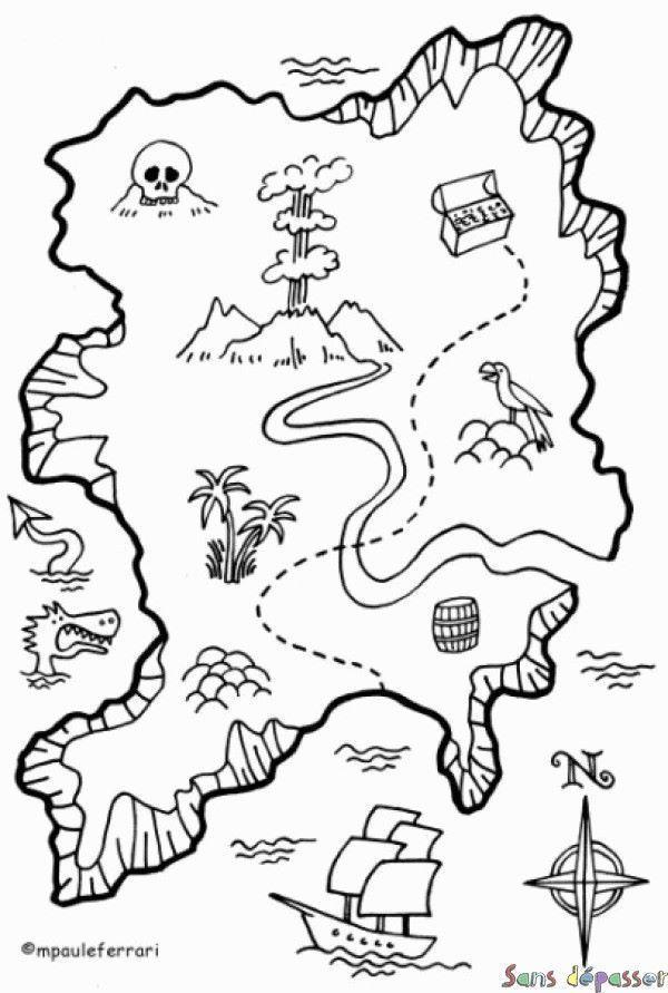 coloriage carte au trésor Coloriage Carte Au Tresor | Pirate crafts, Pirate maps, Pirate art