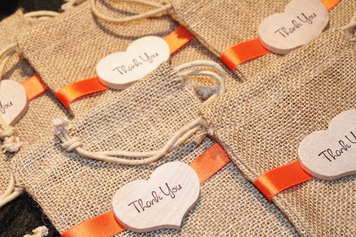 Burlap Favor Bags, Rustic Wedding, Muslin Candy Buffet Bags with Wood Heart Tag, Thank You. $2.25, via Etsy.