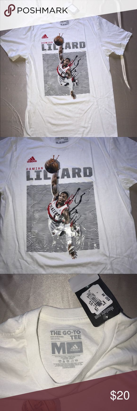 """Adidas NBA authentic Damian lillard t- shirt New with tags Adidas Official outfitters """"The Go-To Tee"""" t-shirt in great condition! Adidas Shirts Tees - Short Sleeve"""
