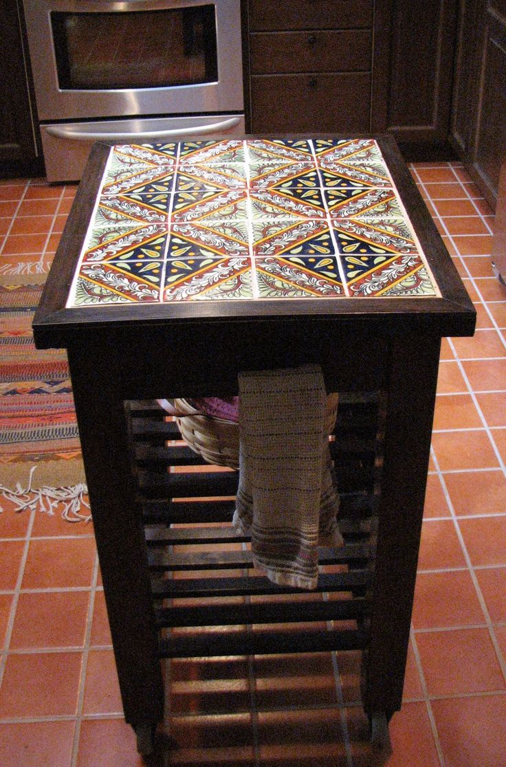Need kitchen space? Get a cart - IKEA Hackers - IKEA Hackers. Kitchen cart stained, tiled, framed