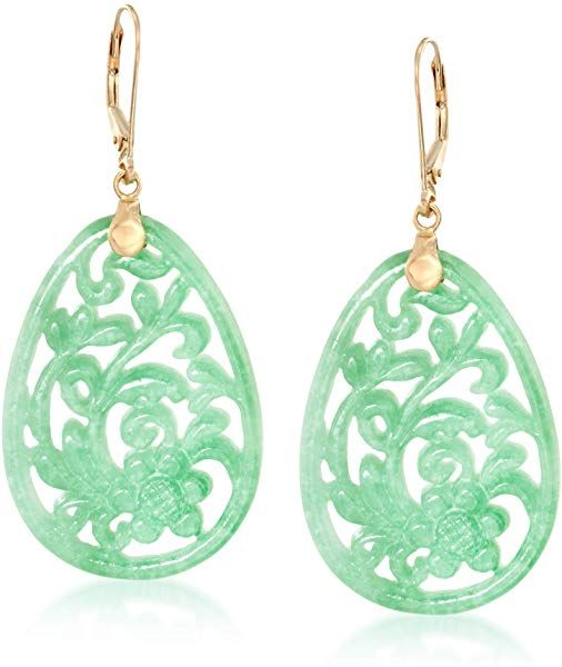 b7d64b14885f Amazon.com  Ross-Simons Carved Green Jade Floral Drop Earrings in 14kt  Yellow Gold  Jewelry