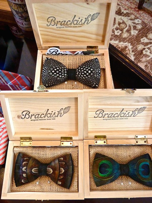 featured by Quintessence - Brackish feather bow ties